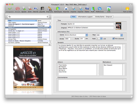 Main screen : Edition mode, Movie tab (Mac)